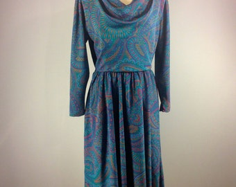 Vintage 80s paisley dress,  blue paisley dress, 80s dress, Tanner blue dress