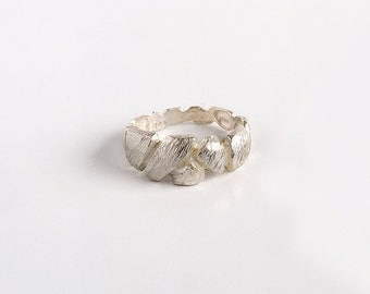 Faceted Ring, Sterling Silver Ring, Textured Ring, Rustic Silver Ring, Silver Rocks Ring