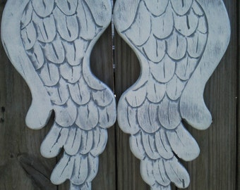 Wood Carved Angel Wings in Lacey 17L x 8w White and Gray with Silver Pearl Wall Decor