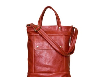 Briefcase Laptop Bag in Saffron Red Leather - Attorney Briefcase Bag - Made to Order