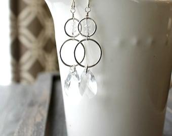 Moonlight Drop Earrings / Sterling Silver Earrings / Swarovski Crystal Clear / Cubic Zirconia Earrings / Elegant Dangle Earrings / Wedding