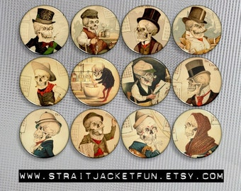 Vintage Well-Dressed Skulls Pinback Buttons, Magnets, or Flatbacks - Set of 12 designs - 3 sizes available