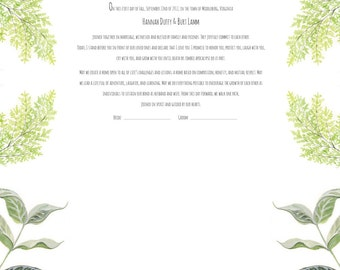 Botanical Giclee Printed Marriage Certificate