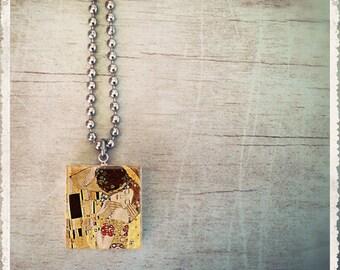 Scrabble Tile Necklace - Klimtp The Kiss- Scrabble Jewelry Pendant Charm - Customize