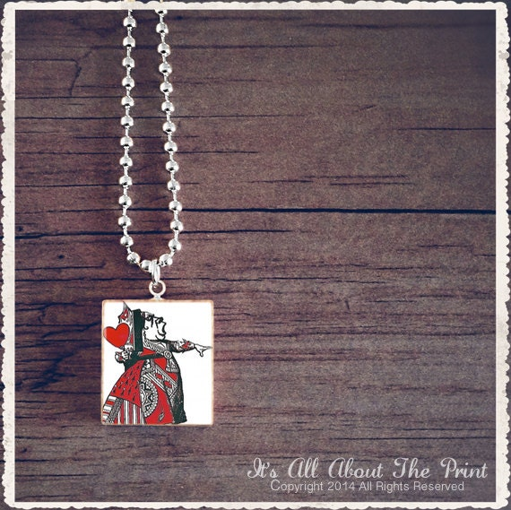 Scrabble Tile Art Pendant - Alice In Wonderland - The Queen - Scrabble Jewelry Charm - Customize