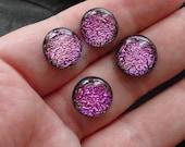 Dichroic Glass Cabochons. Handmade Jewelry Supply. Mauve Magenta. CS-14 12 - 14mm.