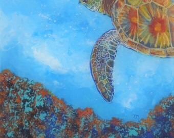 Original Sea Turtle Reverse Acrylic Painting by Marionette from Kauai Hawaii blue mint teal turquoise gold aqua