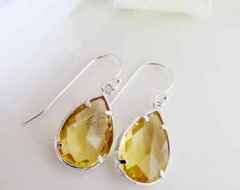 Topaz and Silver Teardrop Earrings, Yellow, Bridesmaids Jewelr