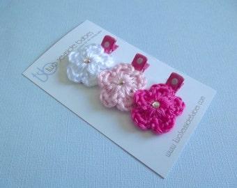 Pink Hair Clips Crochet Flower Hair Clips White Hair Clips Light Pink Bright Pink Polka Dot Hair Clips Baby Girl Hair Clips Baby Hair Clips