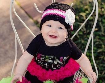 9 Sizes Girls Hat Baby Hat Baby Girl Toddler Hat Toddler Girl Hat Crochet Flower Hat Flapper Lightweight Hat Spring Hat Black Hot Pink White
