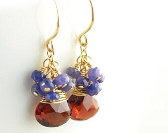 Garnet Dangle Earrings, Sapphire Cluster Earrings, September Birthstone Earrings