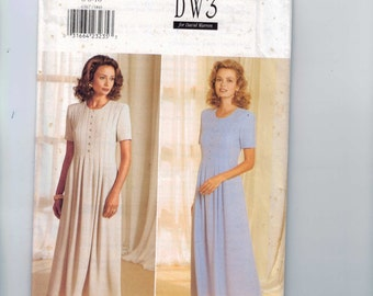 Misses Sewing Pattern Butterick 4367 DW3 David Warren Easy Pleated Front Loose Dress Size 6 8 10 or 12 14 16 or 18 20 22 UNCUT
