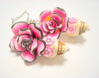 Skull Earrings in Pink and Black Day of the Dead Roses and Sugar Skull Earrings