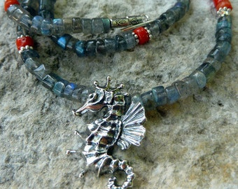 Under the Sea* Sterling Seahorse Labradorite Necklace Ocean Inspired Jewelry Grey Blue Silver Red-Orange Necklace Ocean Inspired Necklace