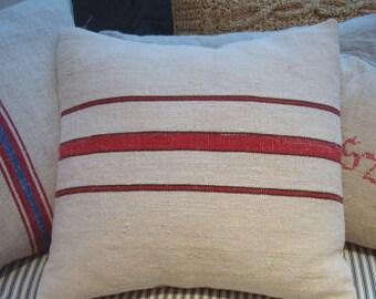 "Vintage GRAINSACK Cottage 18"" Down Feather PiLLoW Paris Shabby Chic Red Stripe Insert"