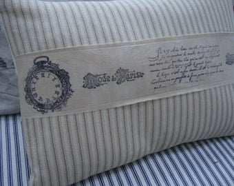 French Ticking Down Pillow/Stripe/Paris Handstamped Ribbon/Shabby Chic/Beach Cottage/Lumbar Pilow/Decorative Throw Pillow/French Cottage