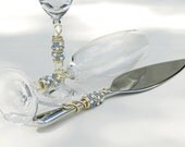CUTTER And SERVER Beaded Cake Knife, Cake Server, Toasting Flutes, SWAROVSKI Crystal, Pearl, Light Sapphire Blue, Champagne