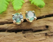 Alexandrite Earrings in 14k Yellow Gold, Genuine Natural Brazilian Alexandrite, 3mm