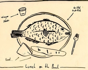 Fish lunch, drawing on paper