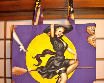 Witch Tote Bag, Sexy Retro Pin-up Witch & Full Moon Tight 'N' Tidy Tote Bag, Reusable Folding Shopping Bag, Eco Bag, Purple Yellow Black