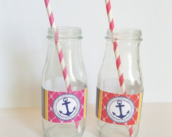 DIGITAL Preppy Nautical Water Bottle Label- Digital File - Red or Pink with Navy Blue and Yellow, Anchor, Rope, and Boat