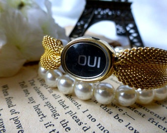 Oui To Paris Vintage Bracelet - OOAK Reclaimed Watch Bracelet - Upcycled Repurposed Jewelry - Traveler , Anniversary, Wedding, Honeymoon