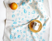 Party Faces - Hand printed Tea Towel