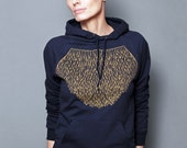 SALE  - Womens Hoodie, Unisex Hoodie, Geometric Gold Lace, Graphic Hoodie, Navy Blue Pullover Sweatshirt