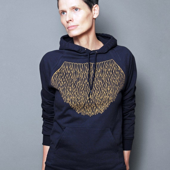 SALE  - Unisex XS - Womens Hoodie, Geometric Gold Lace, Graphic Hoodie, Navy Blue Pullover Sweatshirt