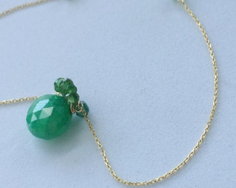 14k Solid Gold Chain Emerald Drop pendant, handcrafted, pure 14k gold wire, 7 emerald rondelles