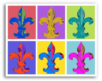 "13x19"" Fleur de Lis Art ""Fleur Abstract"" Signed and Numbered on Fine Art Paper"