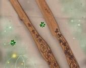 "Wand and Athame Set ""Triquetra Clover"" Cedar Woodburned Handmade"
