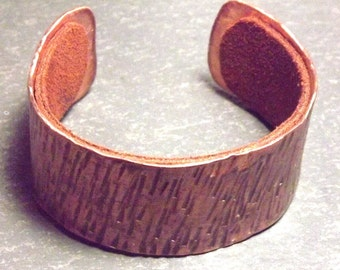 Artisan Created Hammered Copper and Leather Cuff Bracelet