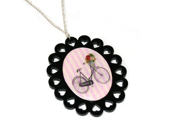 Bicycle Necklace, Bike Illustration Necklace OOAK, Statement Necklace