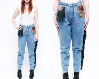 Vintage St. Maarten Western Embellished Cowgirl Fringe Jeans // LEATHER STUDDED BIKER Denim - 29 / 30 inch waist