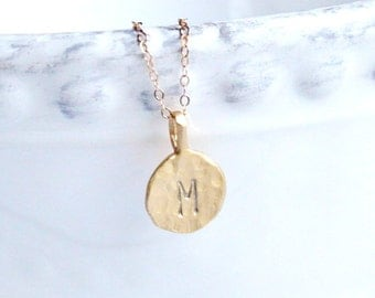 Gold Initial Necklace, Personalized Necklace, Hand Stamped Hammered Initial Necklace, Hand Stamped Jewelry, Monogram necklace