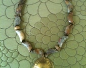 ON SALE ATHENA statement necklace with vintage brass pendant