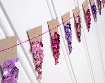 Glittered Pennant Garland - Girls Night Out - shades of purple, hot pink and pink