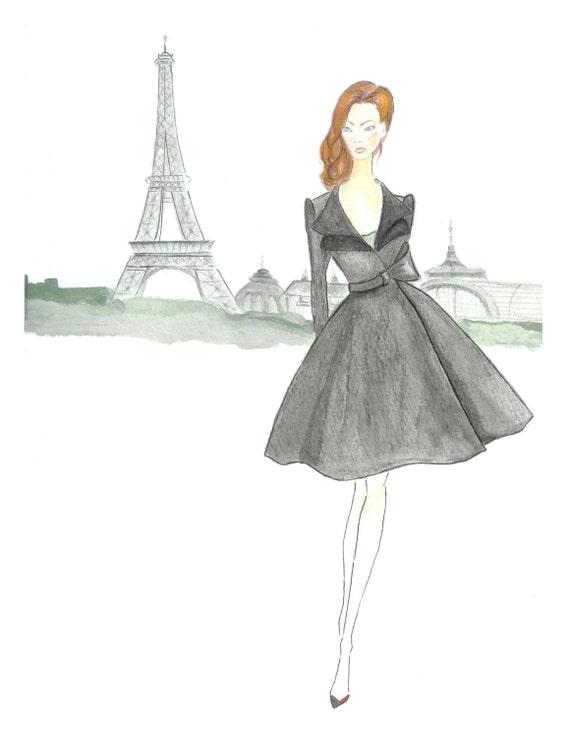 Paris Girl Watercolor Fashion Illustration Girls Room Decor