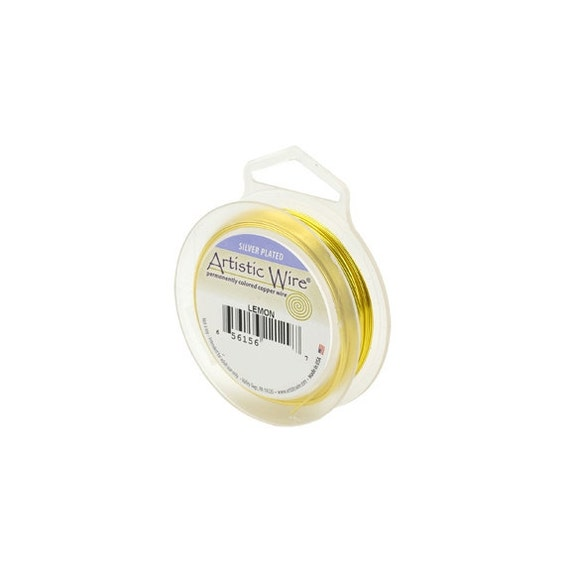 Artistic Wire 20 Gauge Silver-Plated Lemon 41326 Yellow Round Wire, Jewelry Wire, Craft Wire, Silver Plated Wire,  20ga Soft Temper Wire