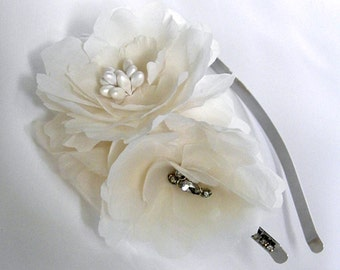 Champagne Ivory Bridal Hairpiece, Peony Flowers,Vintage Bold Romantic Headband, Rhinestone Accents -ABIGAIL