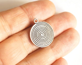 5pcs Matte Oxidized Silver Plated Base Spiral  Charms -Spiral 20x24mm- (410-006SP)