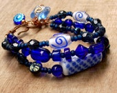 Blue & White Multiple Strand Beaded Bracelet,Blue Glass,Stack Bracelet,Bright Blue Boho