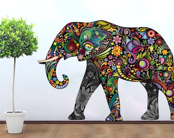 Elephant decoration vinyl wall art decal stickery colorful floral elephant wall sticker decal Colorful elephant home decor