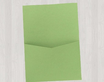 10 Flat Pocket Enclosures - Green - DIY Invitations - Invitation Enclosures for Weddings and Other Events