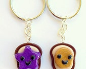 Best Friend Keychains Peanut Butter and Jelly Toast Bread Gift