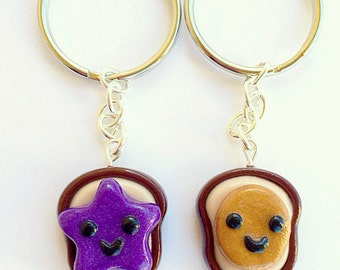 Best Friend Keychains Peanut Butter and Jelly BFF Gift, BFF Keychain