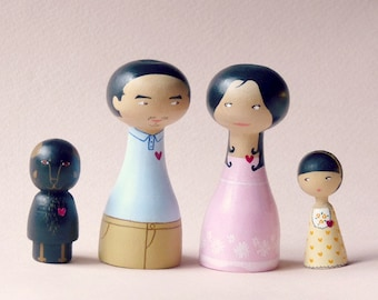 FREE SHIPPING Custom Family Portrait of 4 Dolls children or pets - Personalized - Asian Chinese