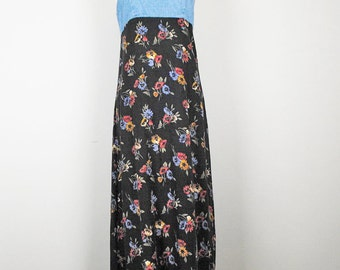 Vintage Floral Print Denim Slip Dress  XS 7