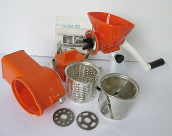 Spong 702 Mincer Slicer Grater Kitchen Set Complete Meat Grinder Metal Suction 1960s Instructions Vintage England